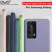Originele Vloeibare Siliconen Gevallen Voor Samsung Galaxy A51 A50 A71 A70 A40 A30 A10 S8 S9 S10 S20 Plus Note 20 Ultra etui 8 9 10 Plus Back Cover telefoon hoesjes