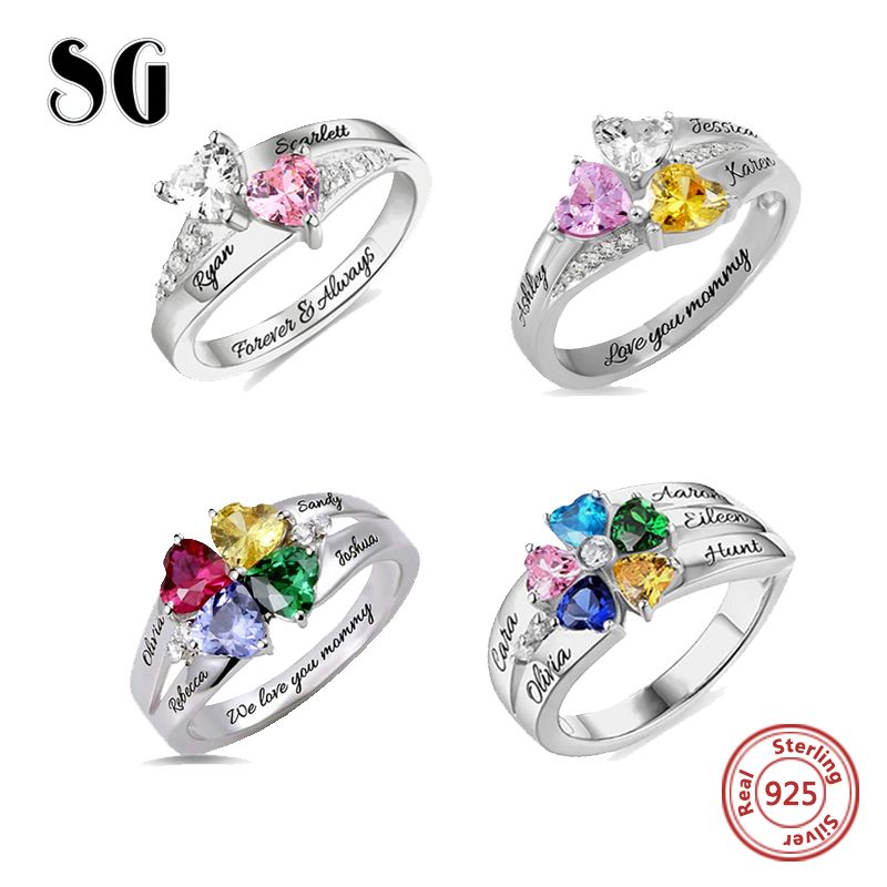 SG Personalized 925 Sterling Silver Rings Custom Heart Birthstone Ring With 2-5 Names Jewelry for women Mother day's Gift