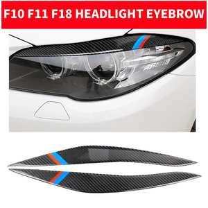 Fit for BMW 5er F10 2014-2016 Kohlefaser Lampe Augenbraue Carbon-Faser-Auto-Lampe Augenbraue dekorative Aufkleber