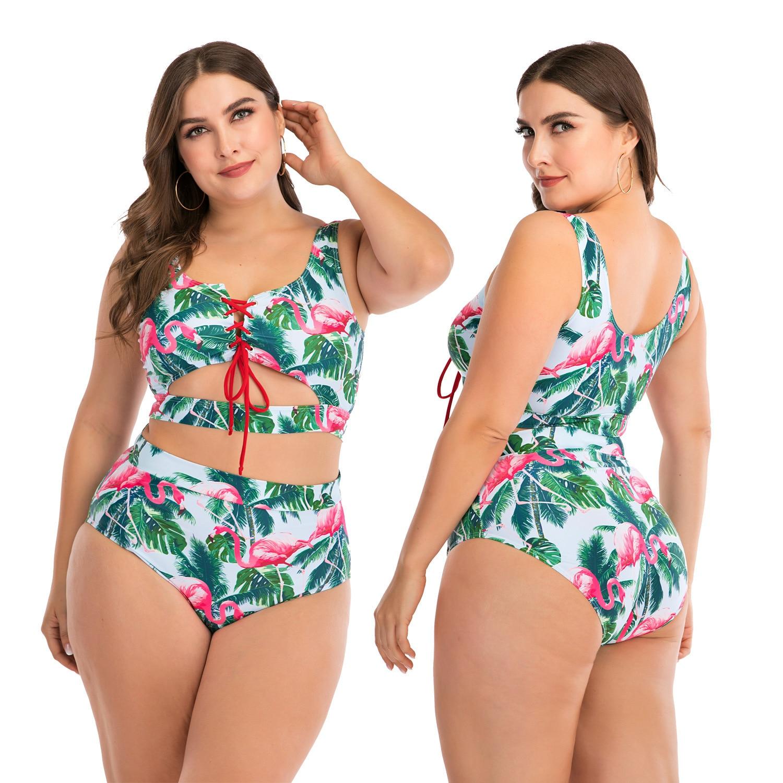 L-4xl Plus Women's Sexy Bikini Swimsuit Fashion High Waist Slim Print Women's Bikini Swimsuit Girl