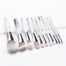 11Pcs Cosmetic Pen Professional Makeup Brushes Set Powder Blush Marble Color Handle Foundation Eyeshadow Make Up