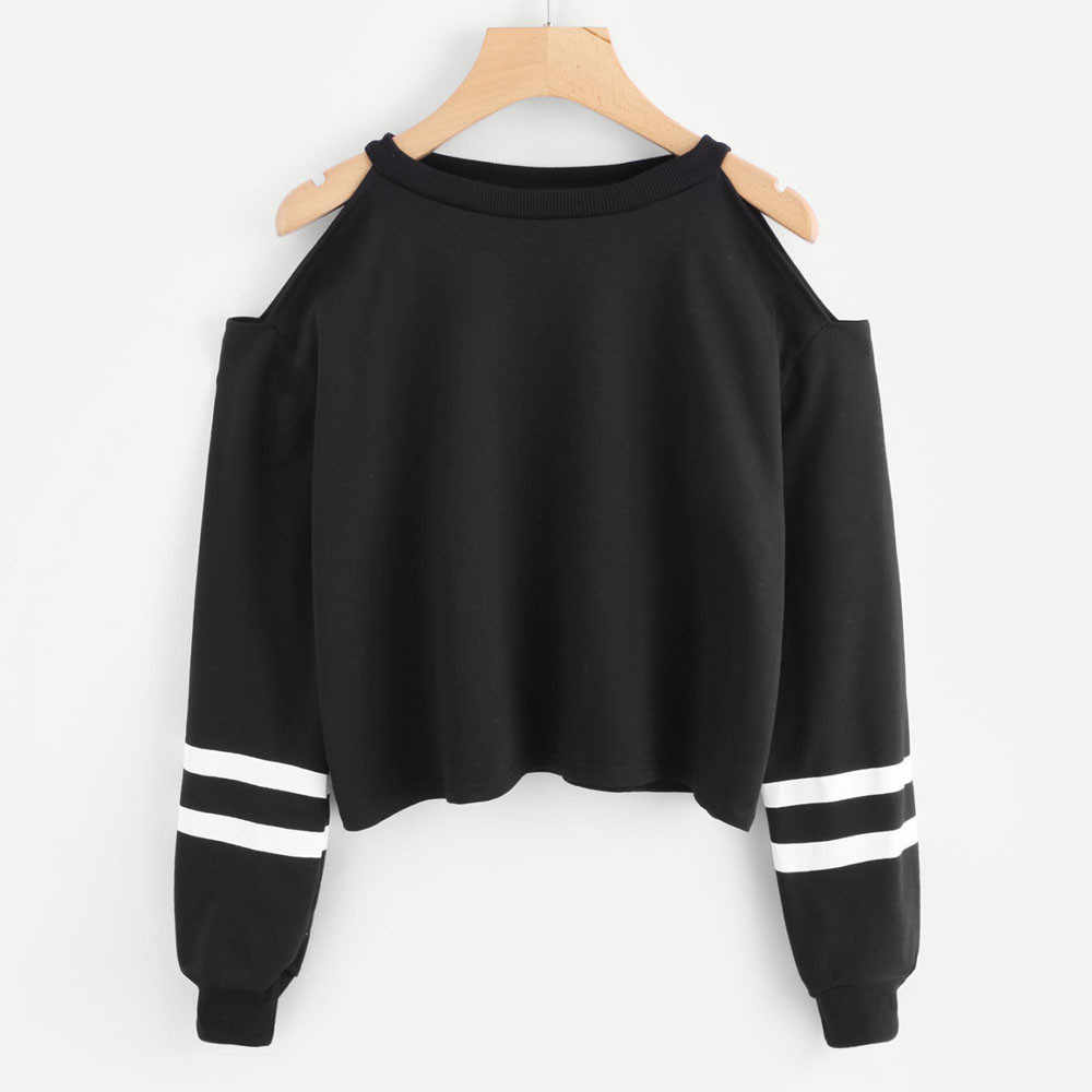 Hoodies For Women Off Shoulder Long Sleeve O-neck Casual Sweatshirt Short Pullover Plus Size Clothes #YL5