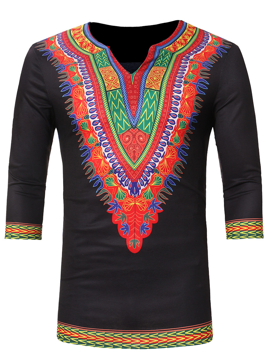 White Dashiki Split Long Sleeve Top