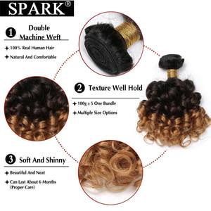 Image 4 - Faísca extensão do cabelo humano ombre brasileiro solto bouncy encaracolado feixes de cabelo 3 tom ombre remy feixes tecer cabelo preto feminino l