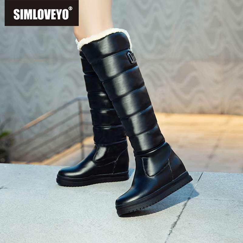 SIMLOVEYO russie hiver femmes bottes en peluche genou bottes bout rond fourrure dames neige botte chaussures compensées imperméable botas chaussures bottes