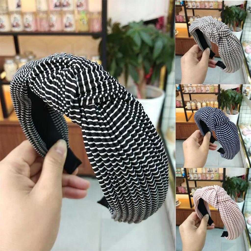 1pc Women Headdress Bow Headband Turban Elastic Headwear Lady Striped Head Wrap