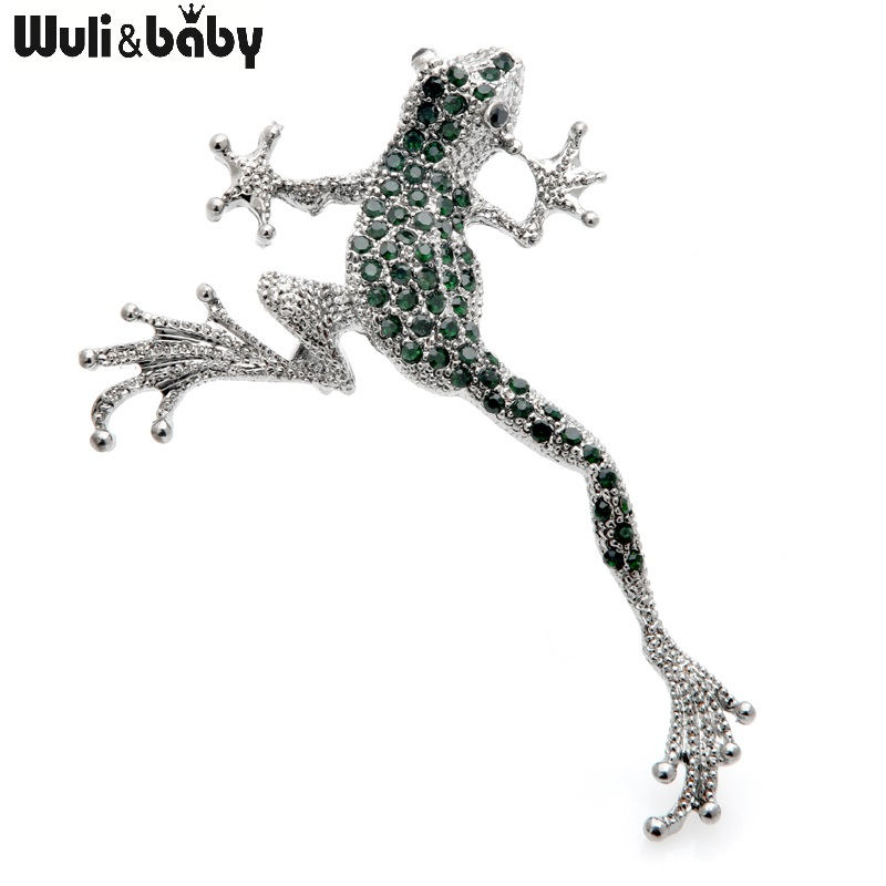 Wuli&baby Green Rhinestone Frog Brooches Metal Lovely Jumping Frog Animal Brooch Pins Gifts 1