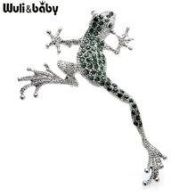 Wuli & bébé-broches vertes de grenouille en strass, jolies broches en métal, Animal de grenouille sautante, cadeau