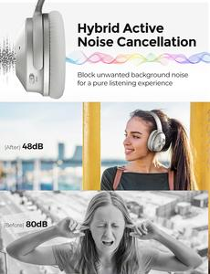 Image 2 - Mpow h12 fone de ouvido sem fio 2 em 1, headset híbrido bluetooth 5.0 com cancelamento de ruído ativo, tempo de reprodução 30h trabalho de viagem