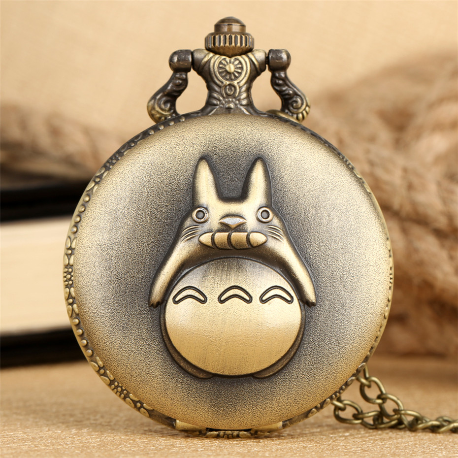 Lovely Totoro Theme Quartz Pocket Watch Roman Numerals Display Round Dial Hot Anime Necklace Pendant Clock For Students Kids