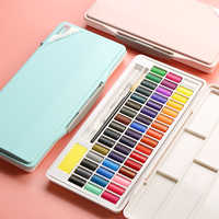 Macarons Watercolor Paint Solid Set 24/36/48 Color Powder Blue Boxed Beginner Packing Transparent Watercolor Art Supplies