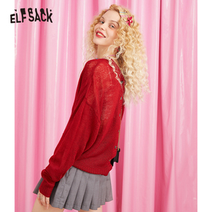 Image 2 - ELFSACK V Neck Button Solid Casual Oversized Sweater Women Knitted Top 2019 Autumn Korean Style Ladies Sweaters