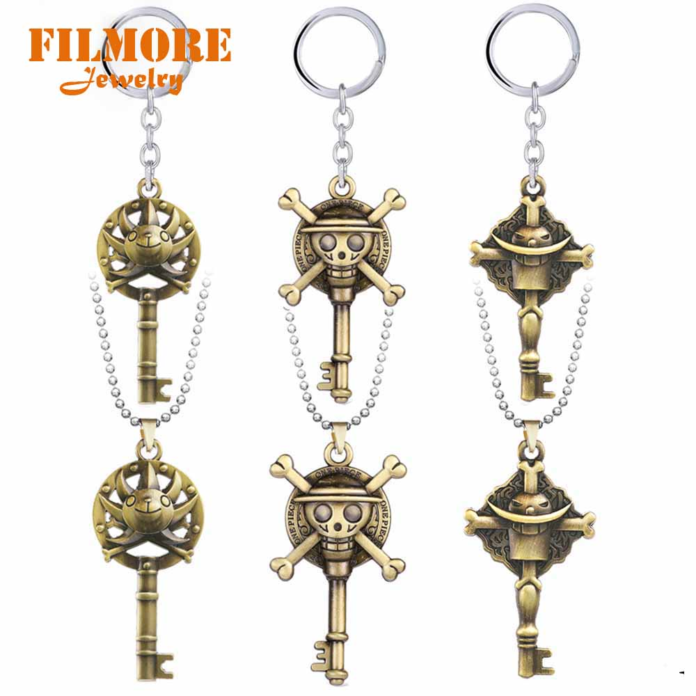 ONE PIECE Anime Keychain OP Sunny Luffy White Beard Bronze Pendant Necklaces Friendship Charms Car Keychains Jewelry Accessories image