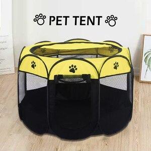 Image 2 - Taşınabilir Pet oyun kalem taşınabilir katlanır Pet köpek çadırı köpek evi sekizgen kafes kedi çadır oyun parkı köpek kulübesi kolay kullanım