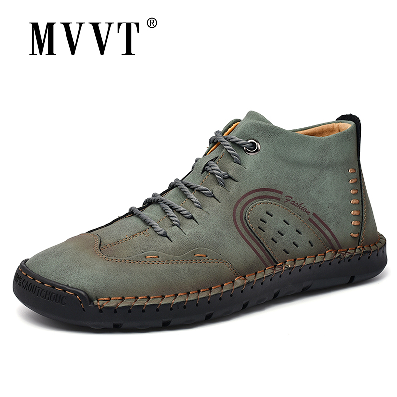 New 2020 Fashion Leather Men Boots Handmade Ankle Boots Khaki Outdoor Autumn Boots Men Casual Leather Shoes Men