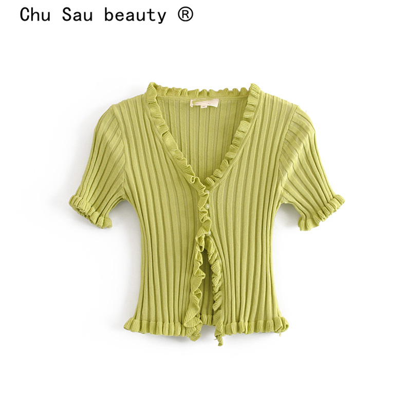 Chu Sau Beauty Autumn Winter Sweet Chic 2 Colours Knitted Sweater Women Casual V-neck Single Breasted Good Elasticity Cardigans
