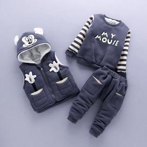 Image 2 - Baby Boy Kleding Cartoon Micky Warm Pak Voor De Jongen Aged 1 3 Jaar Oude Baby Winter Fluwelen Dikker kleding Set 3 Stuks