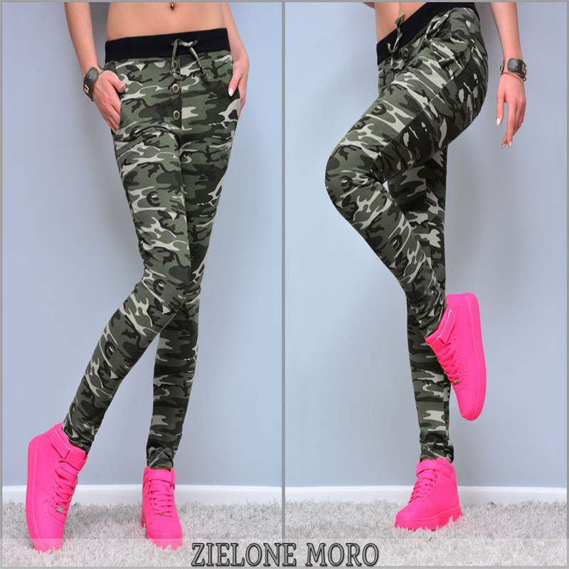 Women Camoufalge Pants Drawstring Design Mid Waist Camouflage Print Pencil Pants Button Decor Female Autumn Pockets Pants