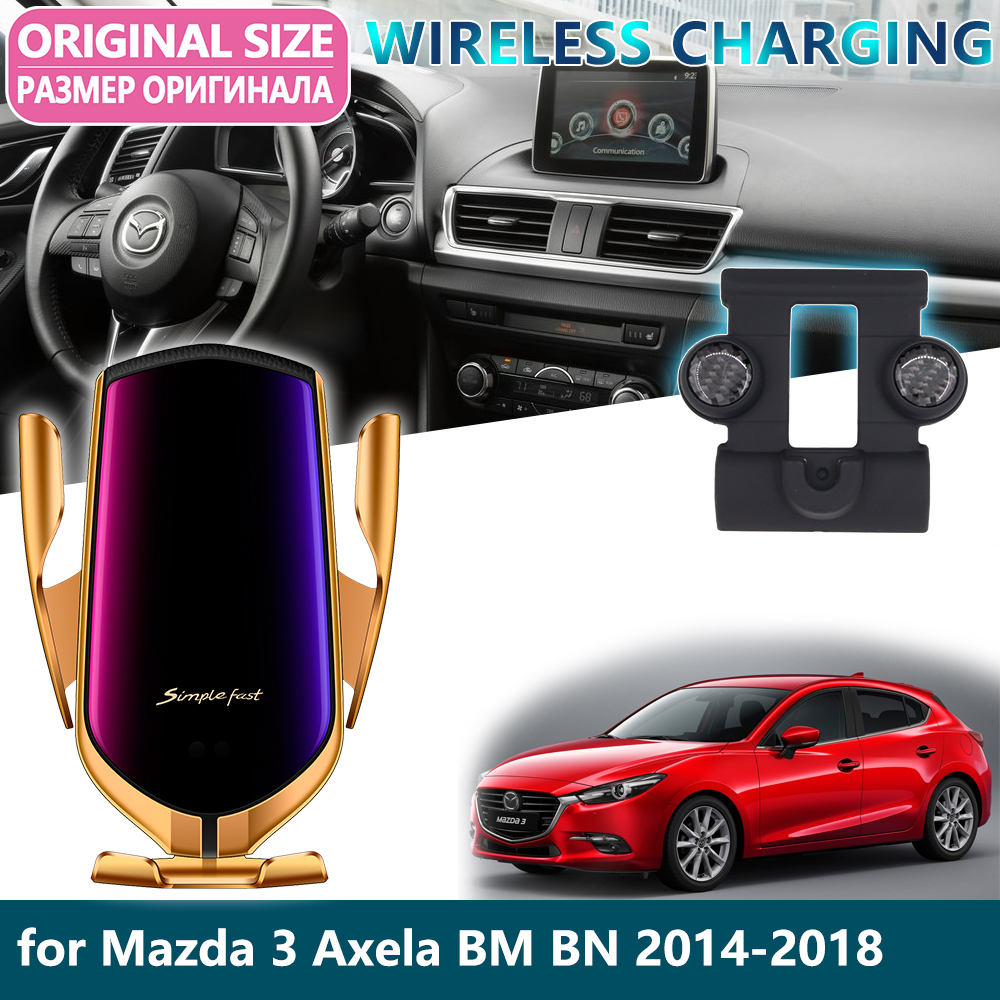 Car Mobile Phone Holder For Mazda 3 Axela Mazda3 BM BN 2014~2018 Gravity Wireless Charging Support Telephone Bracket Accessories