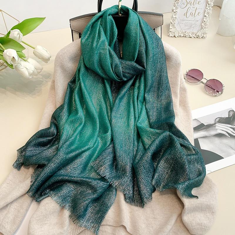 Fashion Gradient  Lurex Glitter Hijab Scarf Maxi Wraps Scarves Autumn Headhand Shawls Muslim Long Islamic Shimmer Fringe Scarves