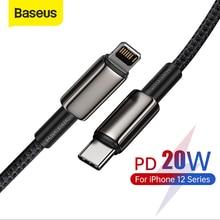 Baseus 20W USB C kablo iPhone için 11 8 XR PD hızlı şarj iPhone 12 SE USB tipi C kablo hızlı şarj Macbook için kablo