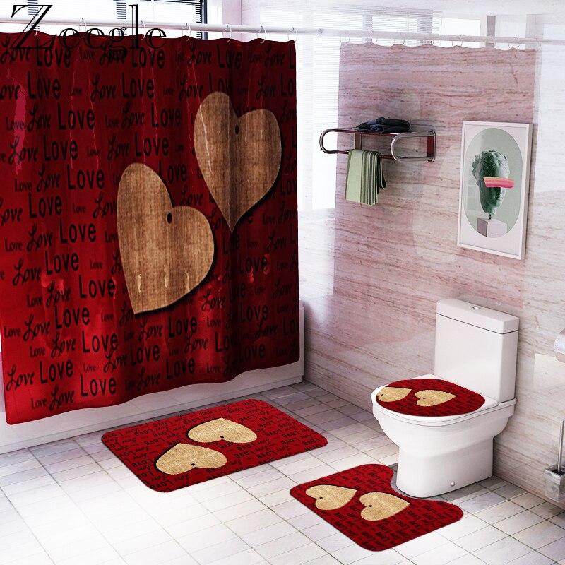 Modern Style Bath Mat and Waterproof Shower Curtain Set Absorbent Toilet Pedestal Rug Bathroom Shower Mat Toilet Cover Seat Mat