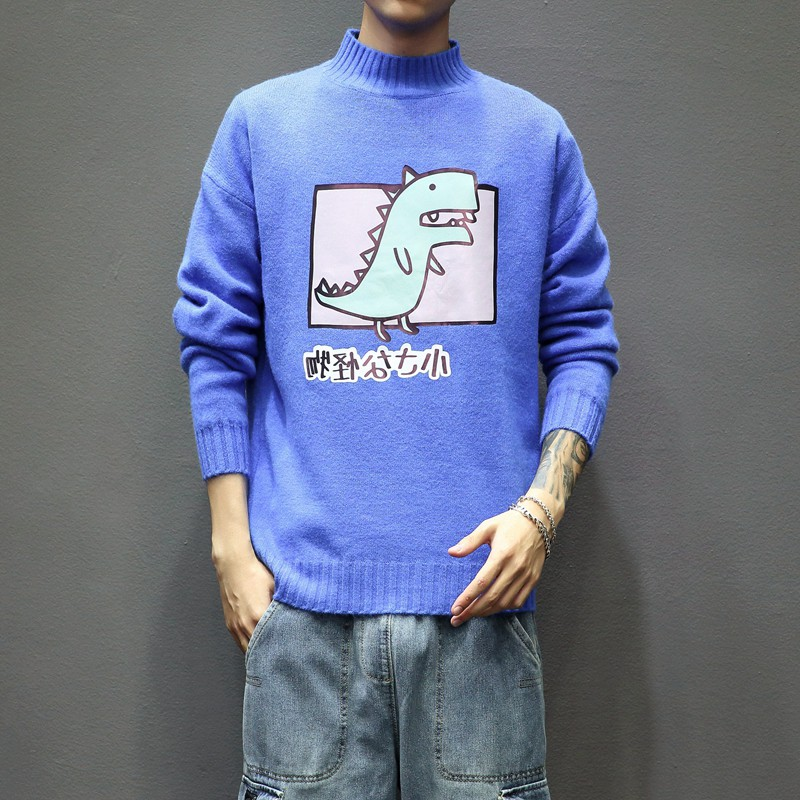 Sweater winter men's dinosaur anime printed sweater men's fashion half turtleneck cute printed casual plus size knitted sweater