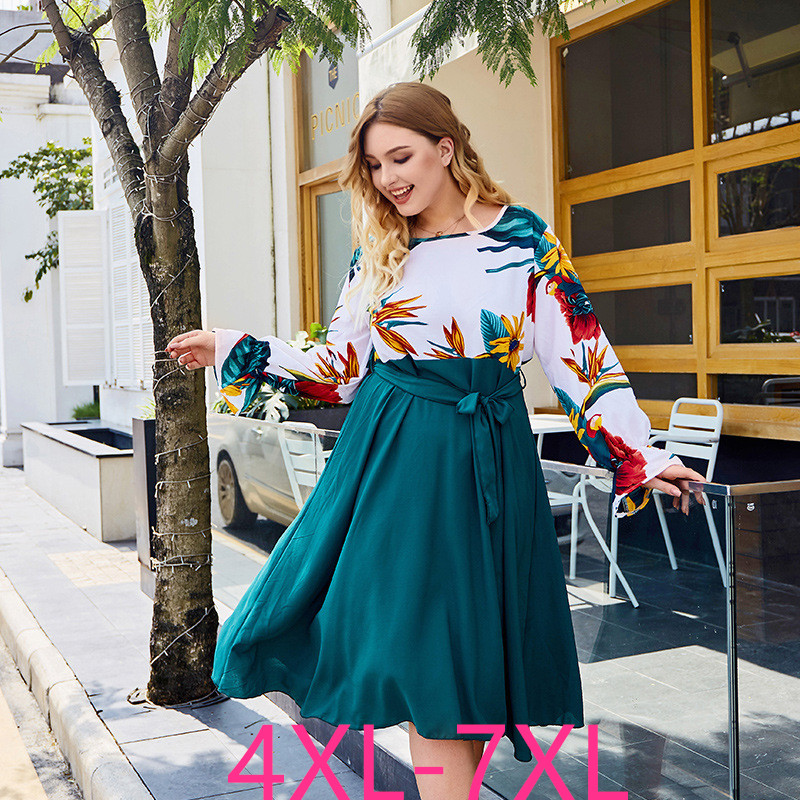 2019 Fashion Autumn Winter Plus Size Party Dress For Women Loose Print Casual Large O Neck Pleated Dresses Belt 4XL 5XL 6XL 7XL