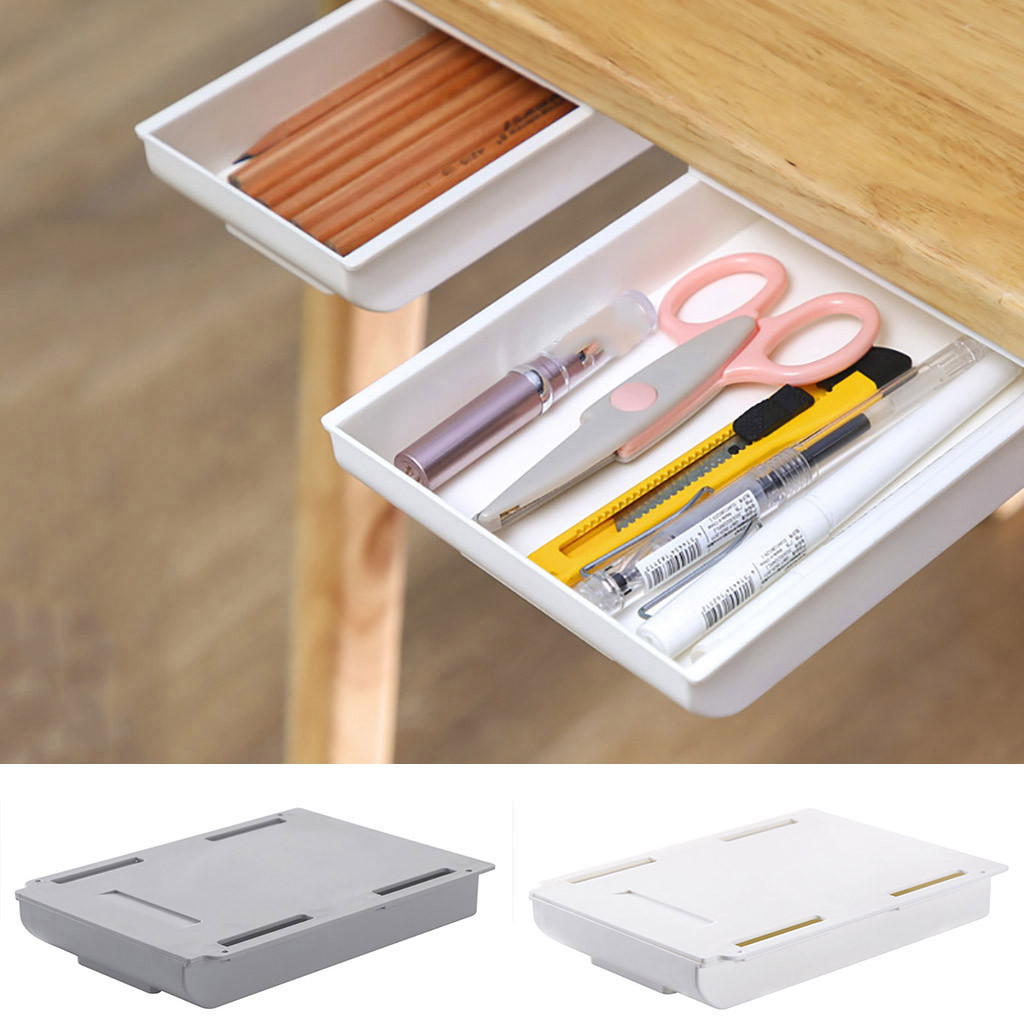 2021 Self Stick Pencil Tray Desk Table Storage Drawer Organizer Box Under Desk Stand Self-adhesive Under-drawer Storage Box