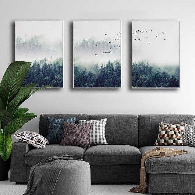Bosque nórdico cartel, fotografía de paisaje pintura de la lona de la pared, arte de fotos para habitación decorativo moderno Prins