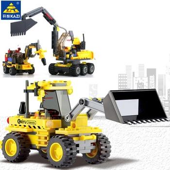 цена на City Construction Excavator Forklift Model Building Blocks Sets Truck Brinquedos Bricks Playmobil Educational Toys for Children