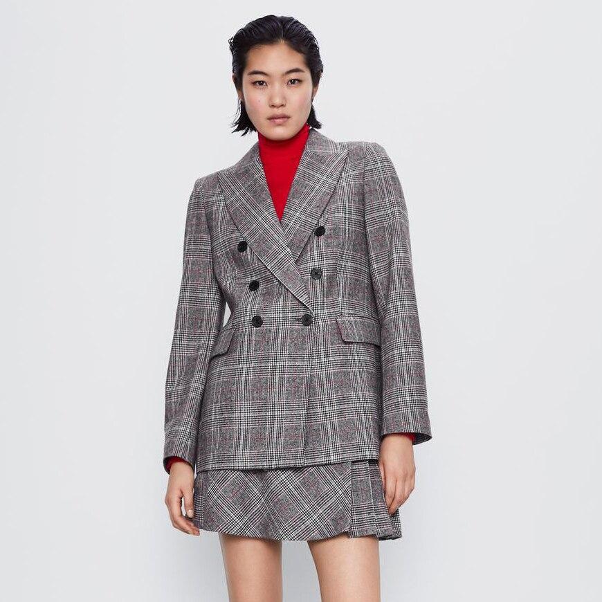 Женский клетчатый Блейзер ZA, повседневная двубортная куртка с лацканами, пальто, мини плиссированная юбка, женский костюм, шикарная винтажная Офисная Леди 2020|Костюмы с юбкой|   | АлиЭкспресс