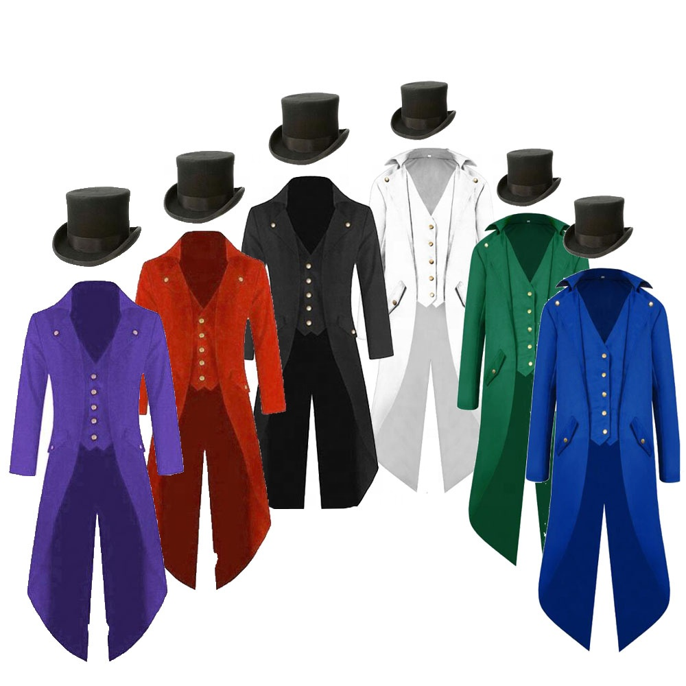 Disfraz Costume De Canaval Ecowalson Mens Steampunk Costume Ringmaster Magician Coat Vintage Tailcoat Gothic Jacket