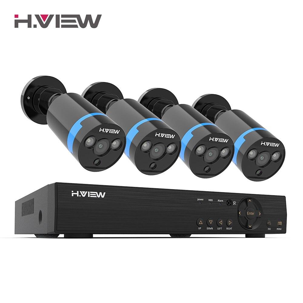 H. VIEW système de caméra de sécurité 8ch système de vidéosurveillance 4 1080P caméra de vidéosurveillance Kit de Surveillance vidéo 8ch DVR Surveillance extérieure