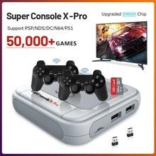 Super console x pro 50000 jogos com 2.4g controladores 256g mini lan/wifi 4k hd portátil criança console de jogo para psp/n64/dc/ps1