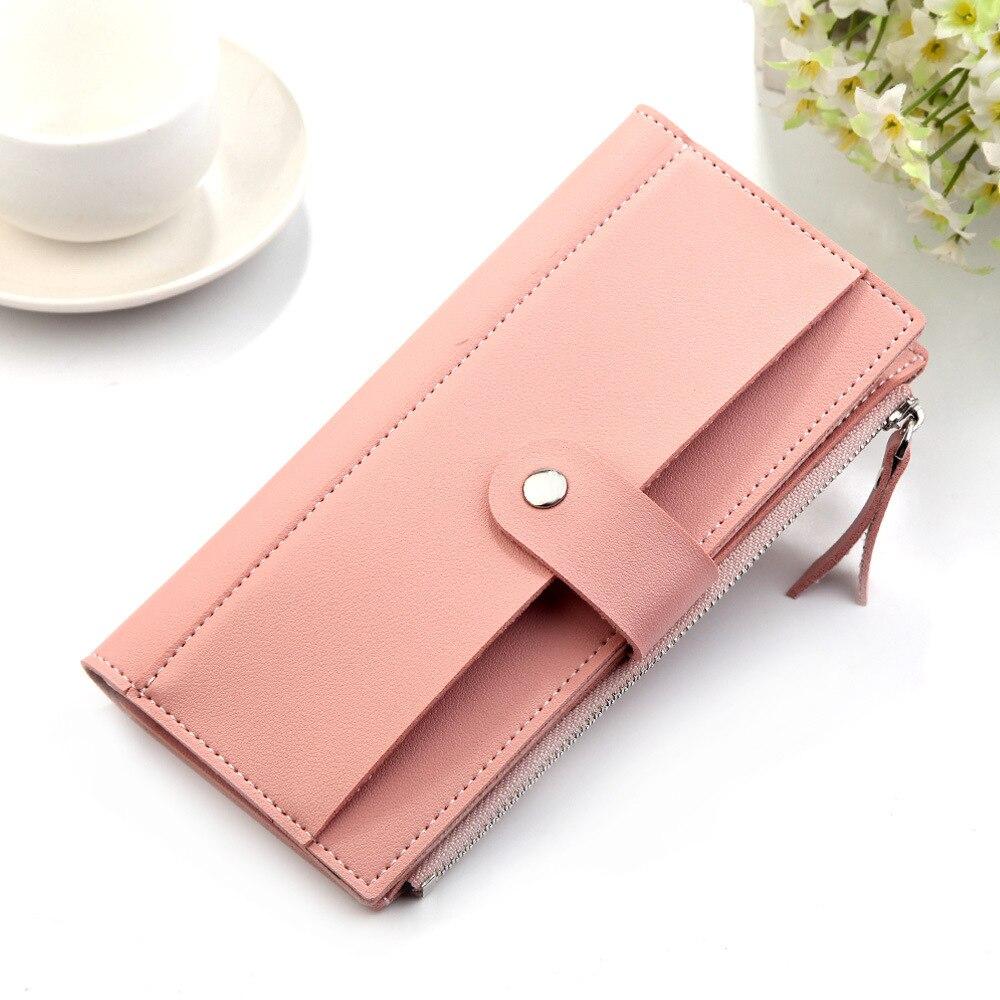 Роскошные Брендовые женские кошельки, длинный модный кошелек из искусственной кожи с застежкой, Женский кошелек, клатч, женский кошелек, кошелек для монет - Цвет: Pink