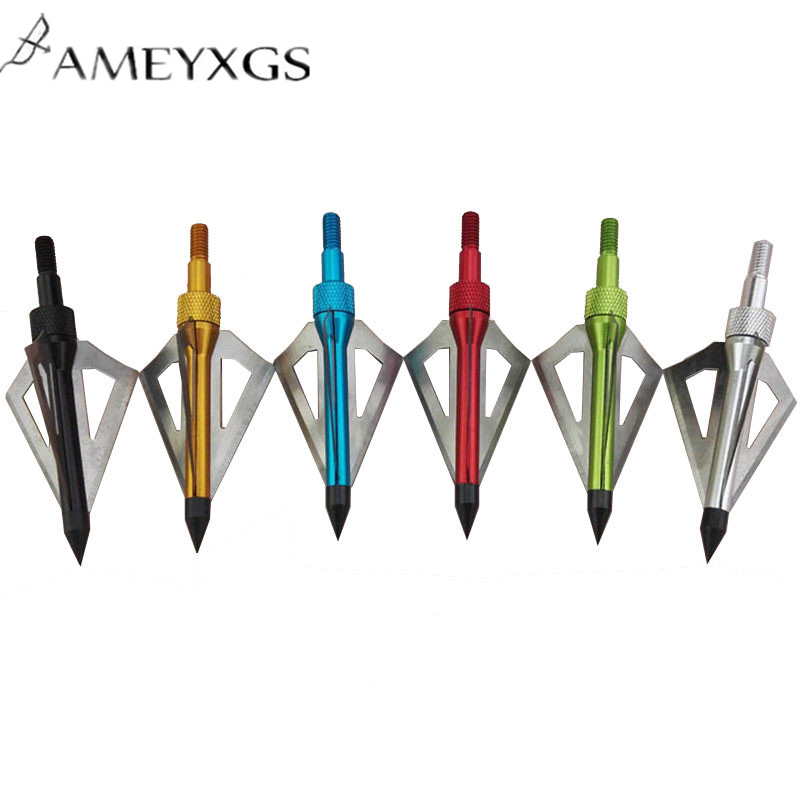 6pcs Archery Broadhead 100 Grain Arrowheads For Compound Recurve Bow 3 Blades Fiberglass Carbon Arrow Accessories in Bow Arrow from Sports Entertainment