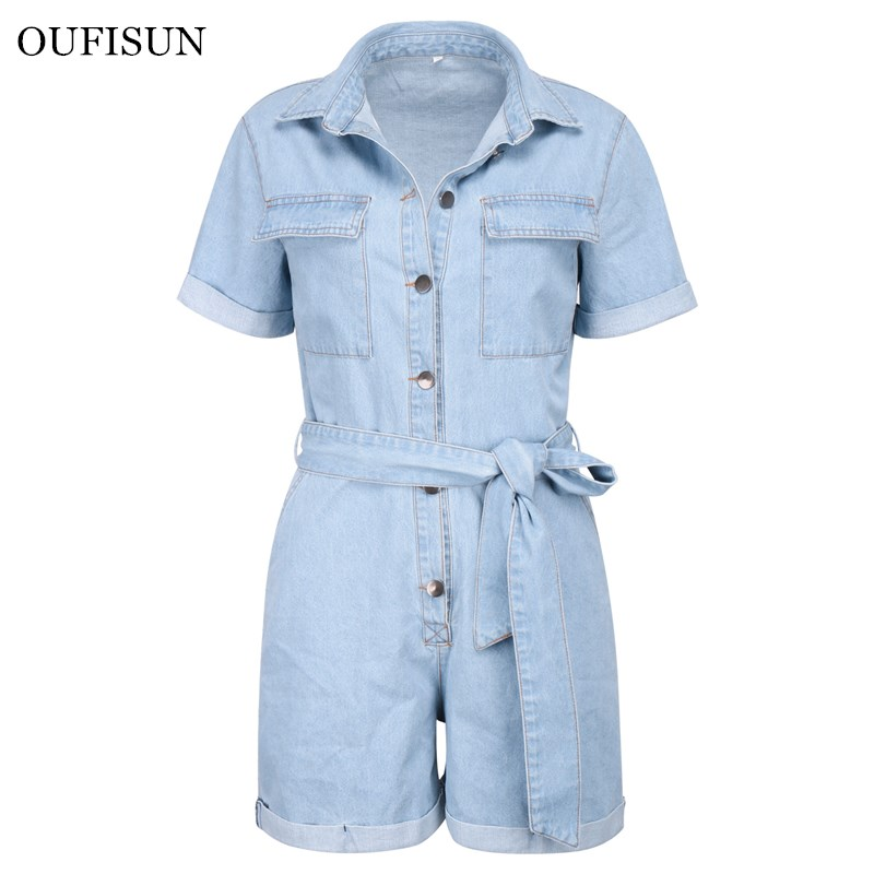 Women Casual Summer Denim Romper High Waist Jeans Overall Jumpers Shorts Jumpsuit Playsuit Bodysuits Fashion Streetwear Style