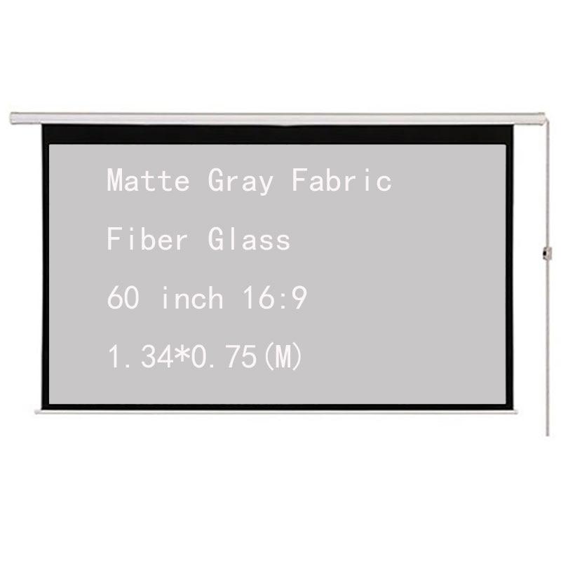 Thinyou Écran De Projection Motorisé Électrique 60 pouces 16:9 Mat Gris Tissu En Fiber De Verre Mur Plafond pour LED LCD Projecteur DLP