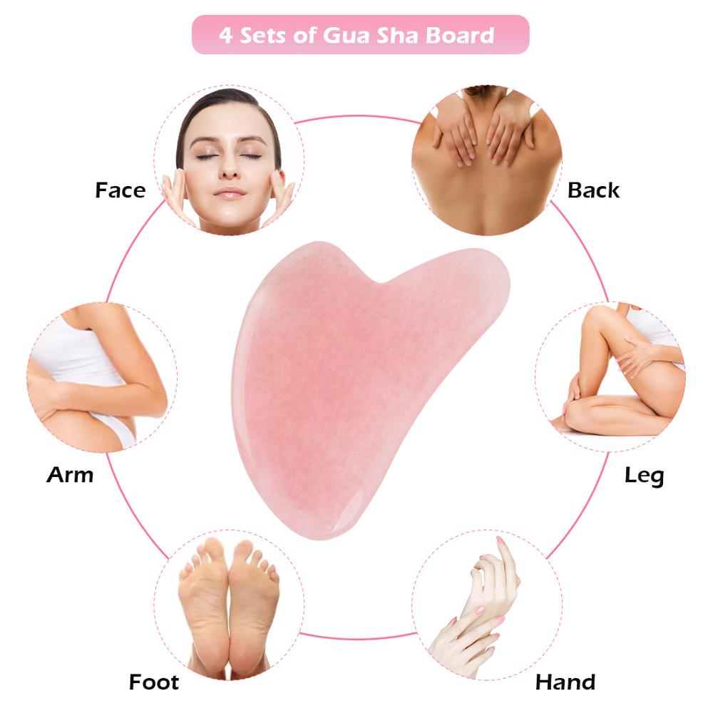 Image 4 - Natural Aventurine Jade Stone Guasha Massage Tool Acupuncture SPA Therapy Gua Sha Massager Scraping Board for Face Back Body    -
