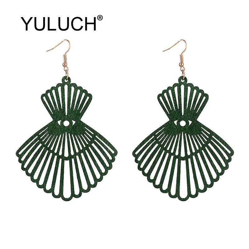 Yuluch 2019 팝 hyperbole 귀걸이 여성 그린 블랙 레드 중공 나무 스커트 패턴 긴 귀걸이 여성 패션 쥬얼리