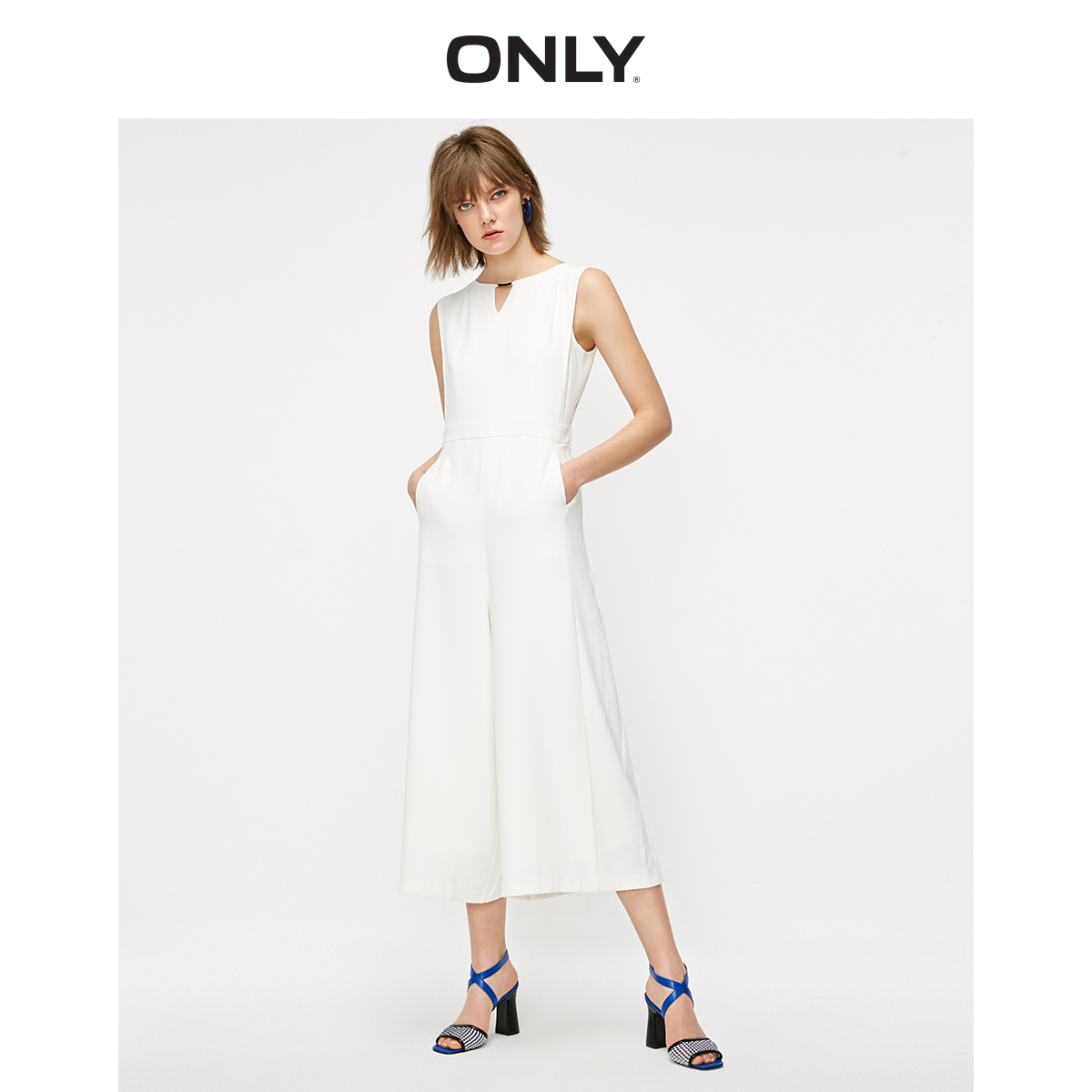 ONLY Women's Loose Fit High-rise Wide-leg Chiffon Jumpsuit   119144506