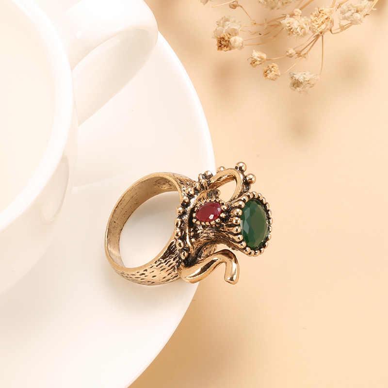 Kinel Vintage takı şarap sürahi antika yüzük moda altın renk kadınlar yeşil reçine düğün parti yüzük noel hediyesi 2020 yeni