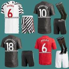 Novo kit de crianças 20 21 manchester camisas united rashford pogba fernandes b. fernandes james cavani utd criança kit 2021 crianças camisas