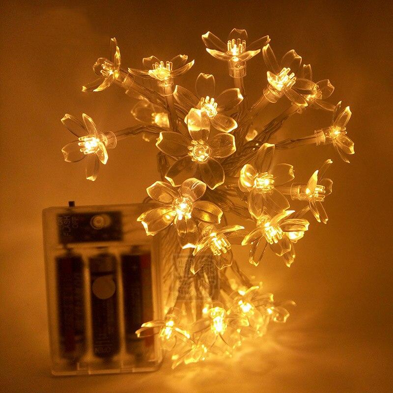 2 м светодиодный светильник для помещений, Рождественское украшение, светящиеся сказочные огни, персиковый цветок, праздничное освещение