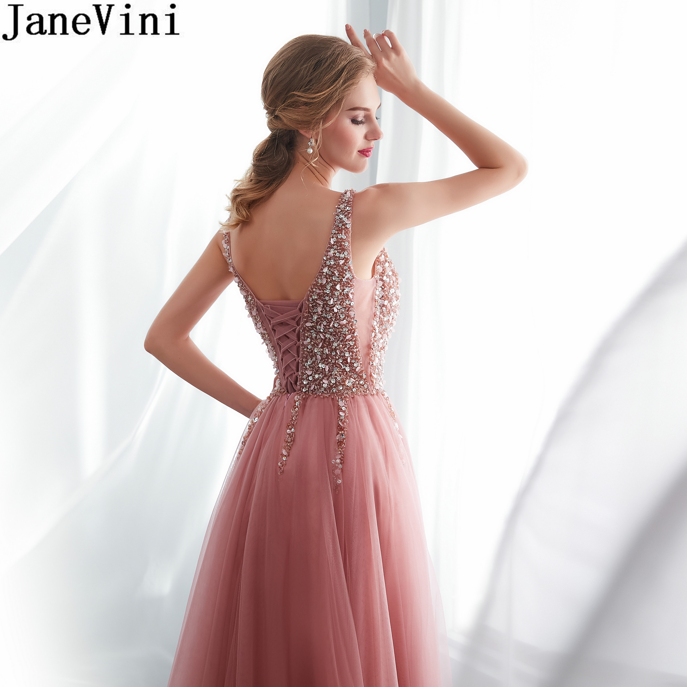 JaneVini Sexy High Split Prom Dresses Girls Gala Formal Dress Long Beading Sequined Dusty Pink Tulle A Line Evening Gowns 2020