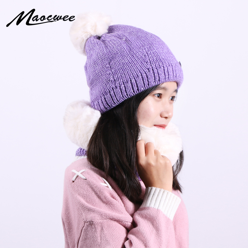 Scarf Hat Women Beanie Cap PomPon Ball Big Loose Winter Keep Warm With Skullies Knitted Hats Unisex Elastic Soft Caps Outdoor