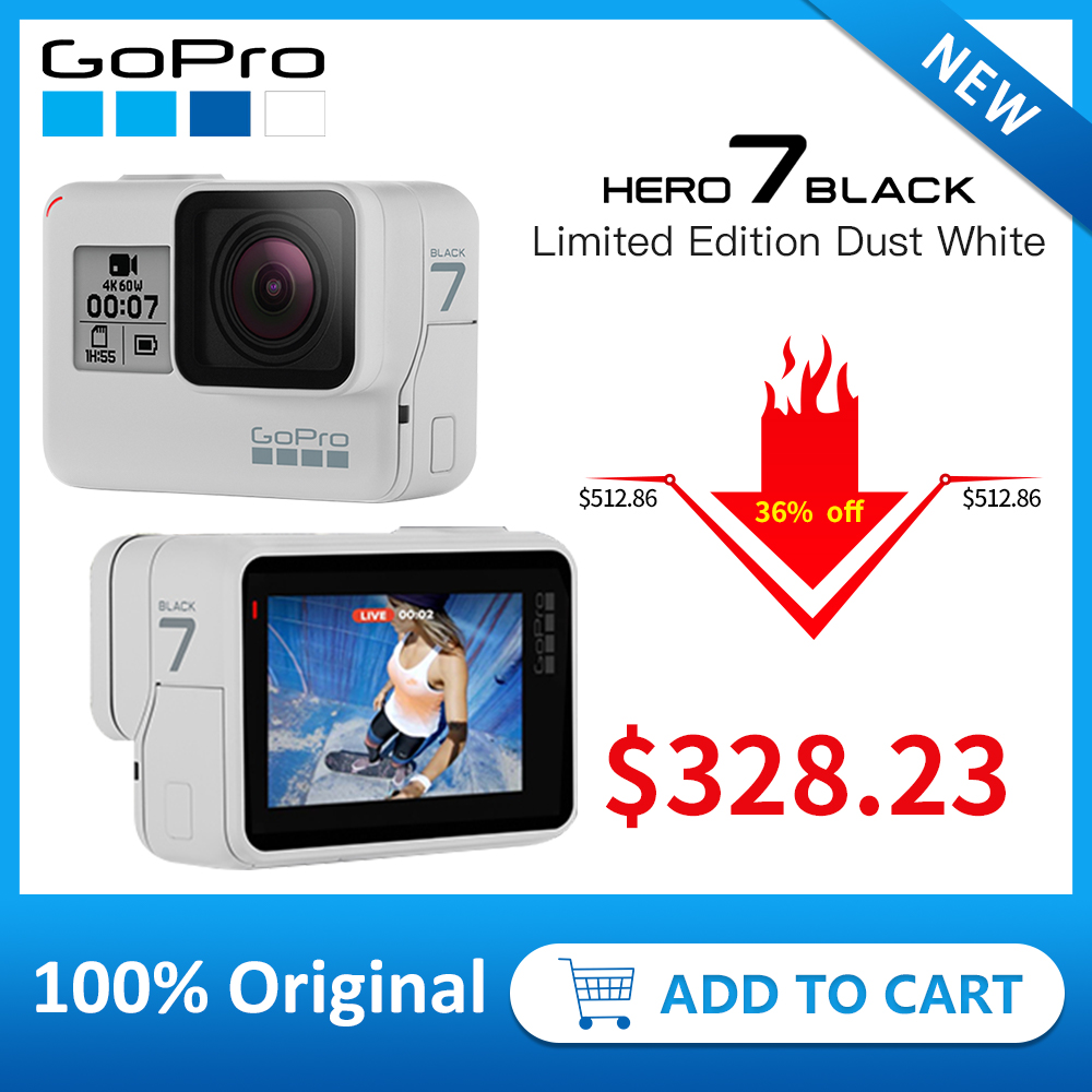 GoPro HERO7 Black (Limited Edition Dusk White) Waterproof Action Camera 4K 60fps 1080P 240fps video Go Pro Sport cam 12MP Photo