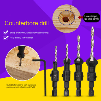 цена на 4Pcs Woodworking High Speed Steel Drill Bit Hole Opener Cone Type Automatic Center Drilling Set Woodworking Drilling Tools