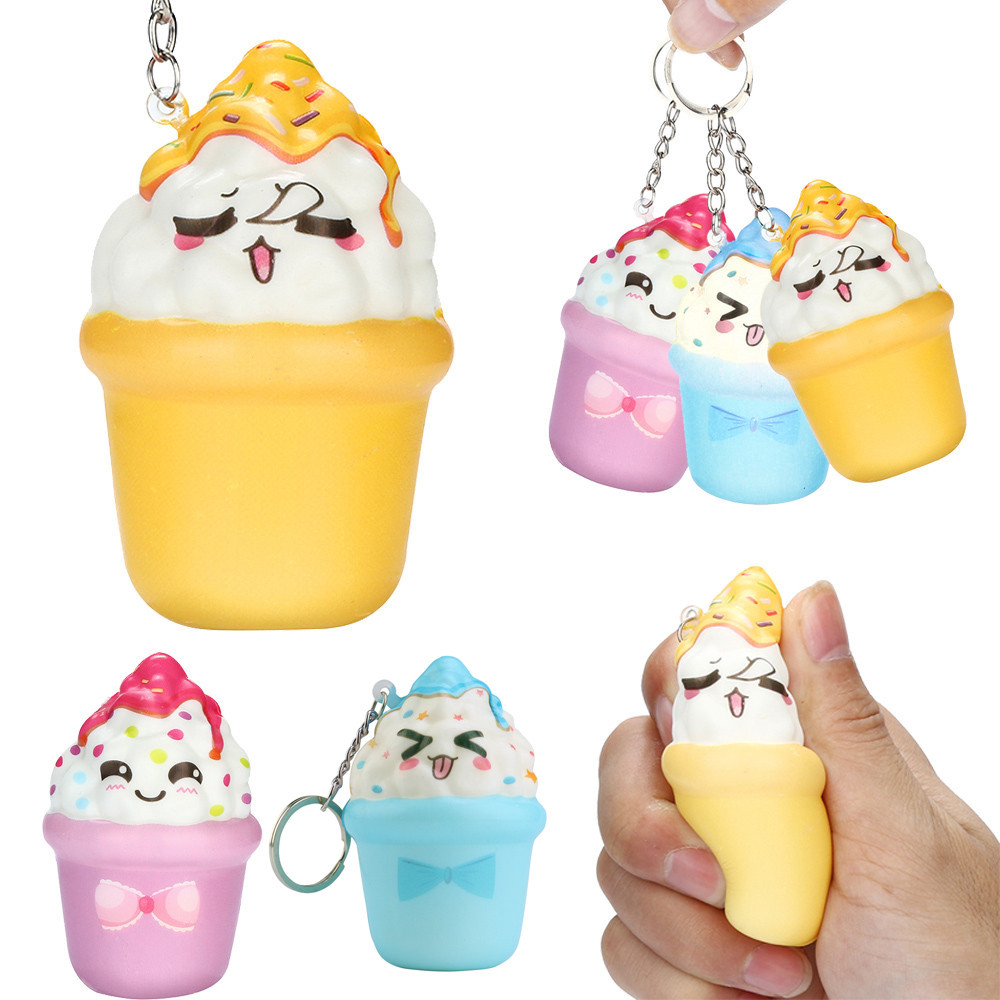 Cute New Squishies Kawaii Ice Cream Slow Rising Cream Scented Keychain Stress Relief Decompression Toy Squishy Juguetes Zabawki